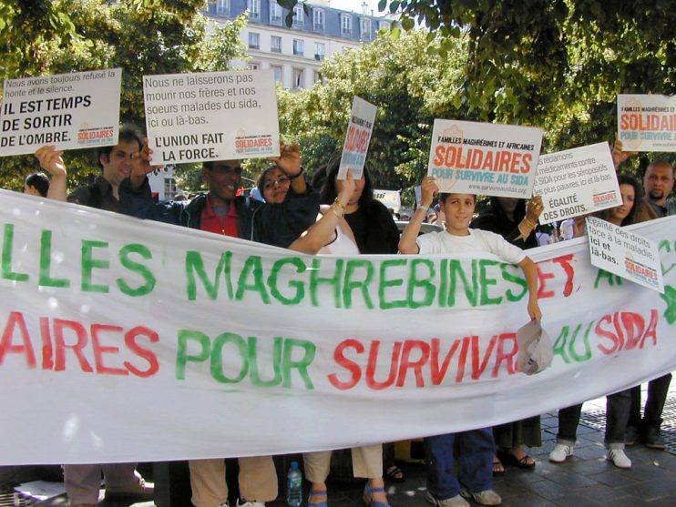 First public demonstration by Arab and African families facing HIV in France in 2002 (Photo: Reda Sadki)