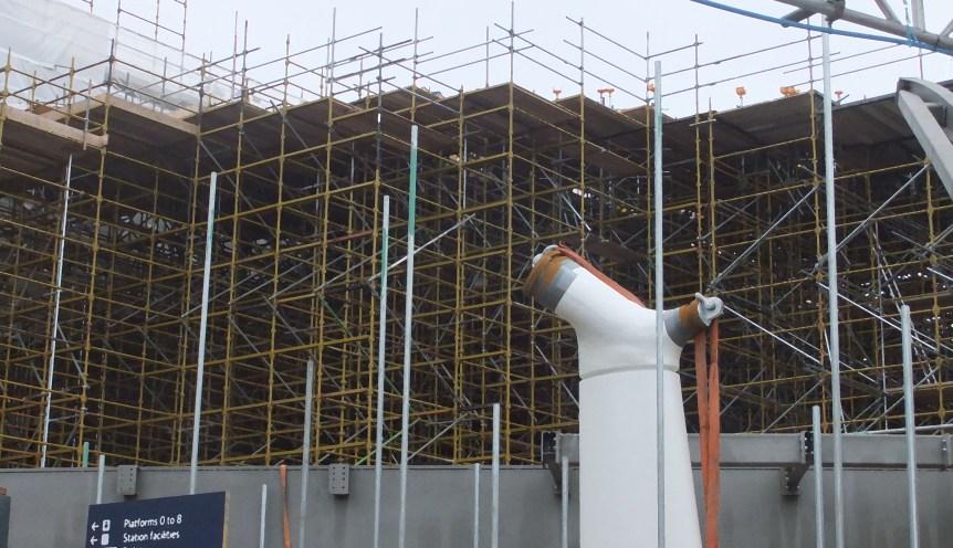 Much scaffolding, King's Cross Station, London
