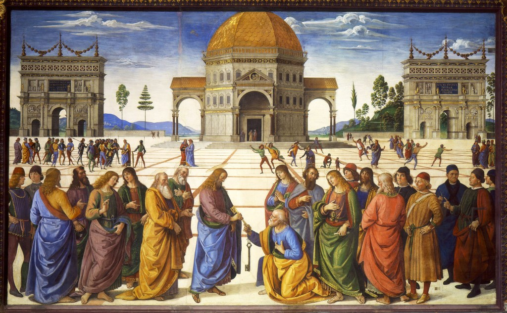 Pietro Perugino's usage of perspective in the Delivery of the Keys fresco at the Sistine Chapel (1481–82) helped bring the Renaissance to Rome.