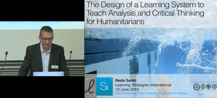 Reda Sadki presents about digital humanitarian learning and leadership