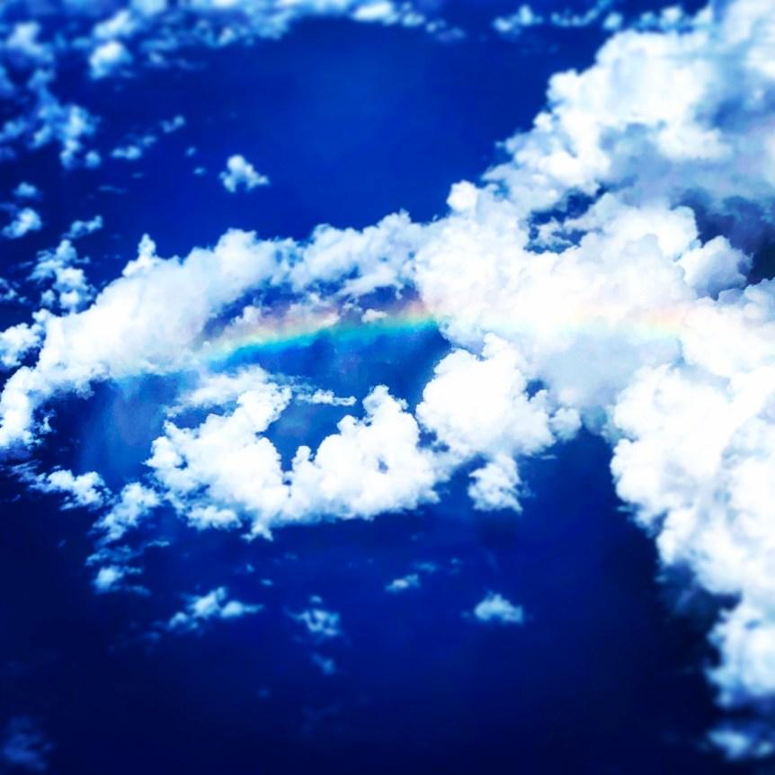 blue skies and rainbow