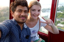 In the cablecar :)