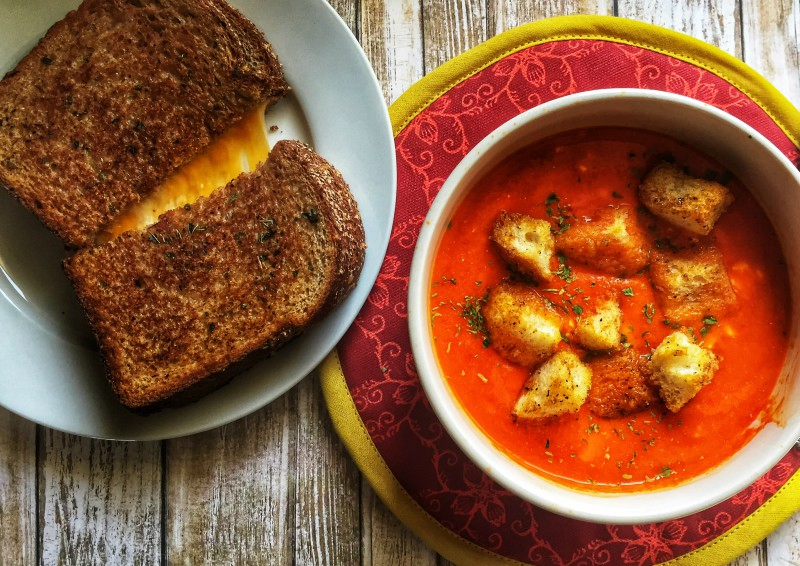 Hot Red Pepper Soup with Creole Croutons