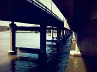 the bike track underneath the bridge.