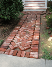 brick sidewalk red in progress