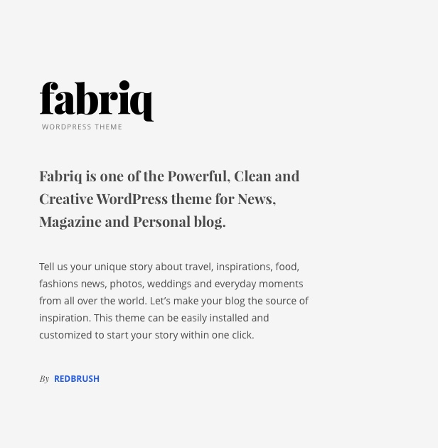 Fabriq - Personal WordPress Blog Theme - 1