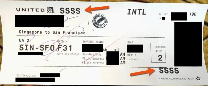 SSSS Printed on Boarding Pass at Check-in Counter Airport - International Flight