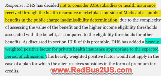 Affordable Care Act and Public Charge Applicability for H1B holders