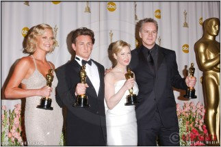 Charlize Theron, Sean Penn, Renee Zellweger and Tim Robbins in the Press Room at the 76th Annual Academy Awards®