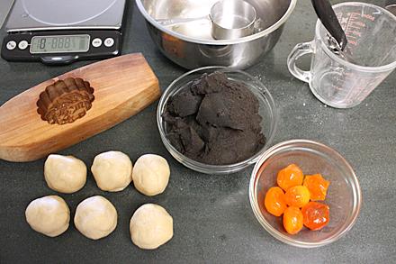 Ingredients for making Black Seasame Mooncake