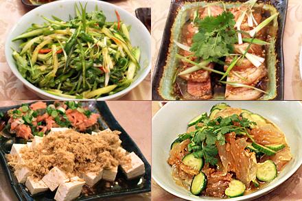 Chili Pepper Tiger Salad, Tofu and Century Egg Salad, Spicy Pork Skin Aspic, Jellyfish and Wood Ear Salad