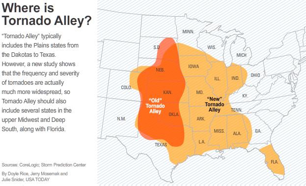 Map Tornado Alley Usa