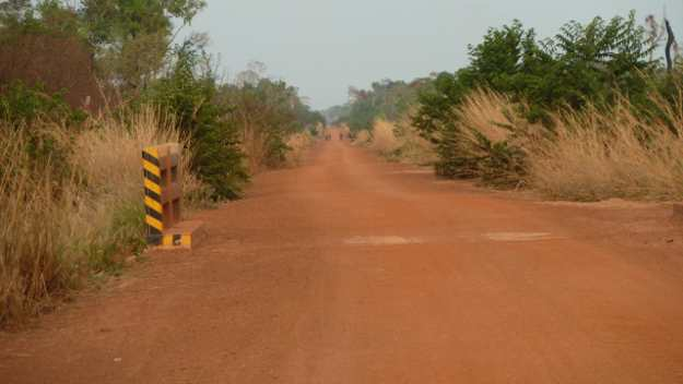 Road cut through the CF areas by the military; location next to the Dangrek escarpment, Cambodia-Thai border  (March 2012).