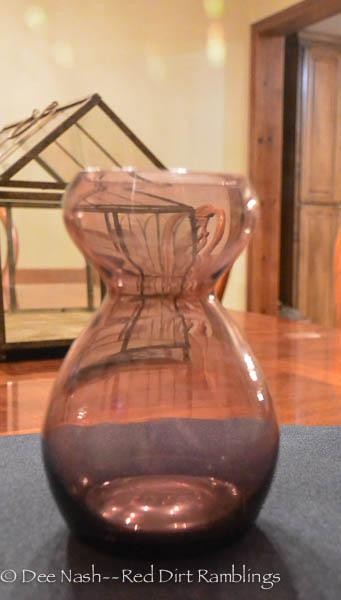 Amethyst blown glass hyacinth vase.