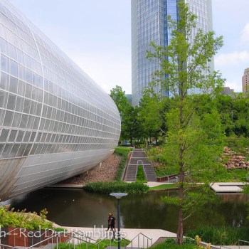 The Crystal Bridge with the Devon Tower.