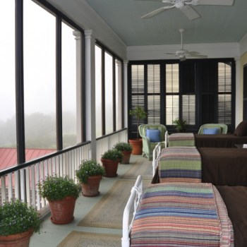 A view of the screen's on P. Allen Smith's sleeping porch at Moss Mountain Farm.