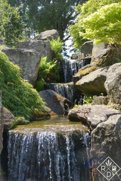 Cascading waterfall in the Wisley Gardens.