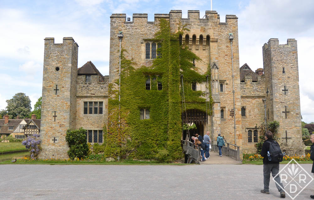 Hever Castle framed by a blue sky.