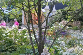 """This display garden was called """"God's Own County – A Garden for Yorkshire."""" It featured this sideways chapel with a lovely stained glass window."""