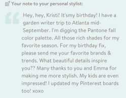 My note to my stylist, Kristi.