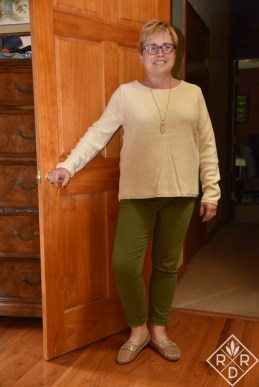 Brookline Mix Material Sweater worn with my Lila Ryan Dorianna Skinny Jean. I'm also wearing my Gentle Souls Portobello Loafer Flats in rose gold. I would've never picked these out for myself, but I really enjoy them. The necklace is Kendra Scott from Rocksbox.