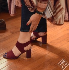 Franco Sarto Gem Strappy Heels in burgundy.