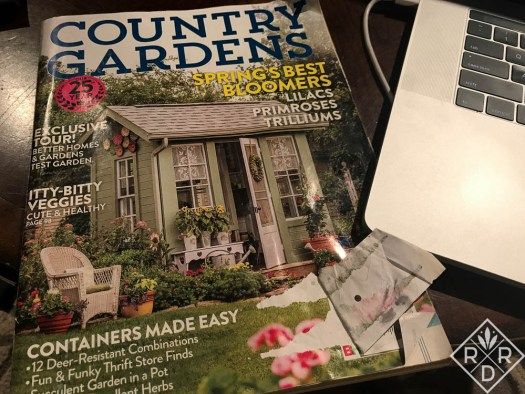 Cover of Country Garden Spring 2017 issue with the shed as model for my own.