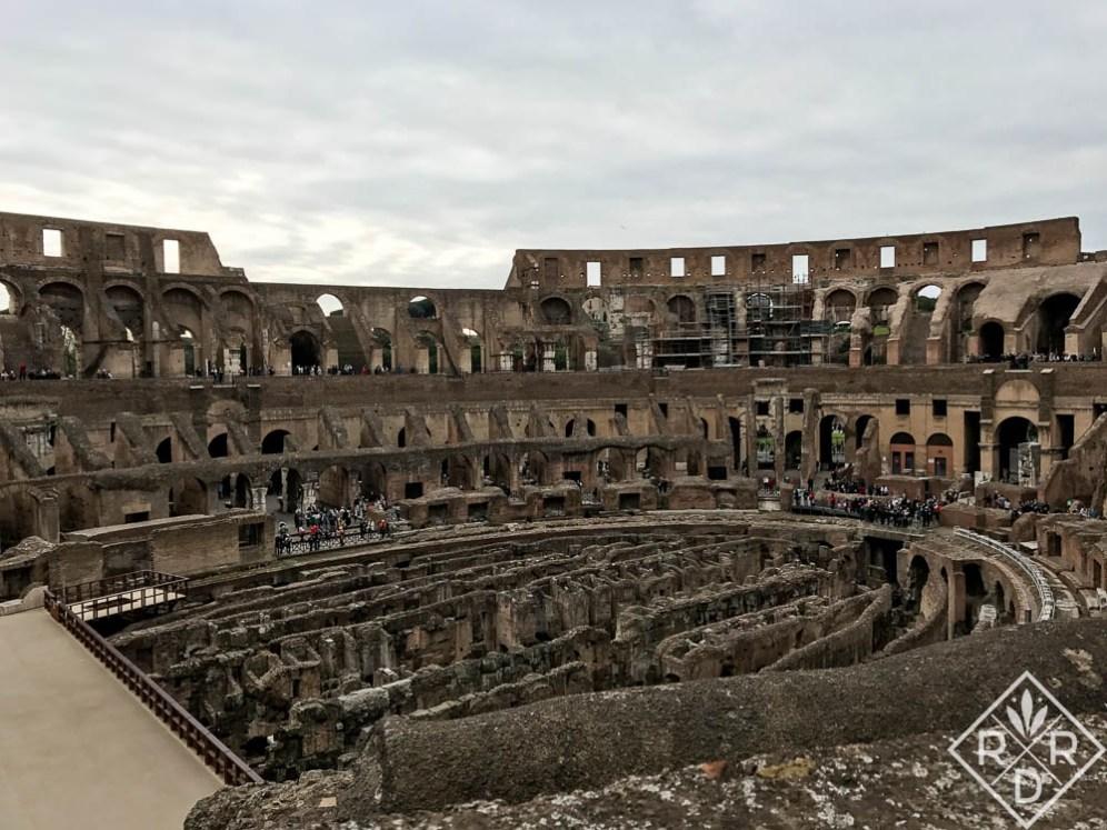 Exposed bottom floor of Roman Colosseum.