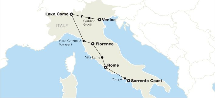 Map for Julia Laughlin trip to Italy.
