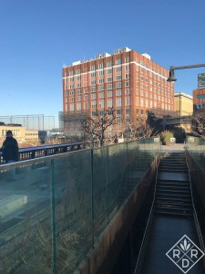 One set of the slow stairs at the High Line in New York City. There are also two or three sets of elevators for those who cannot take the stairs.