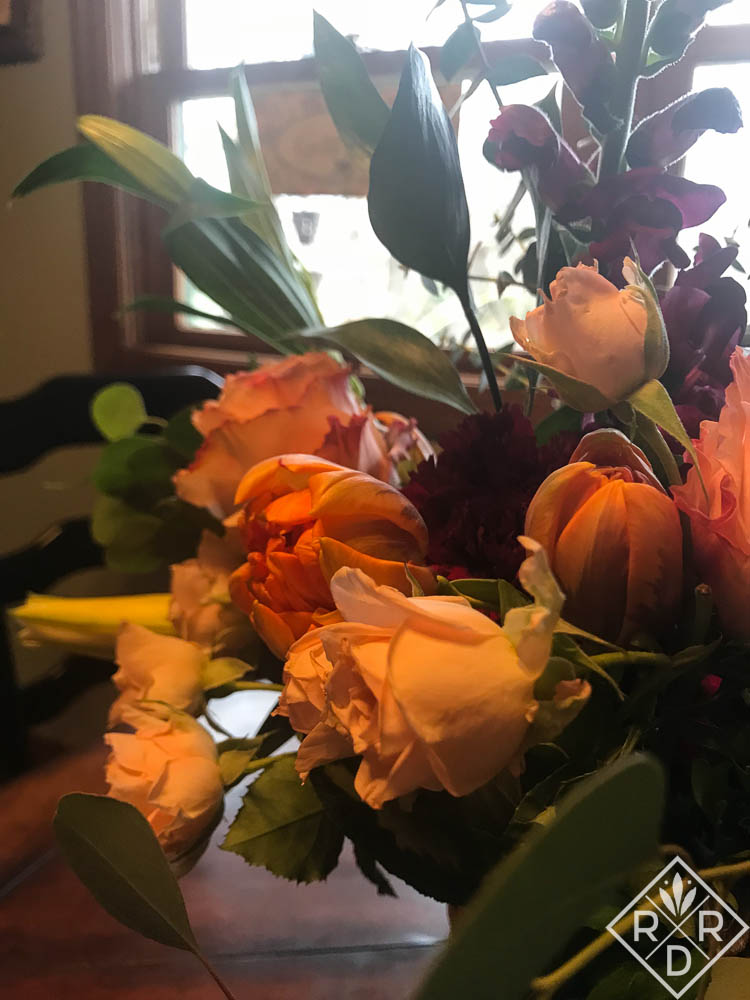 Flowers from the Farmgirl arrangement.