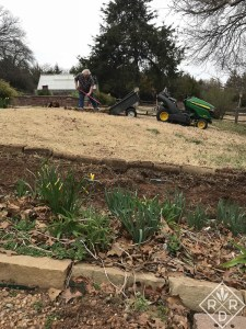 Bill fixing holes in the Bermuda grass with leftover grass and soil from the expanded border. Reuse, recycle.