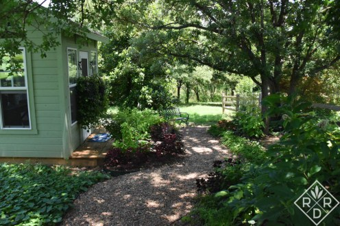 Newest shade garden and my little she shed. I find this shady spot wonderful when the weather is too hot for sun gardening.