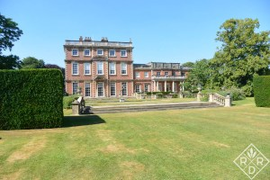 The backside of Newby Hall with the great lawn. The lawn is looking parched because Yorkshire is in a drought.