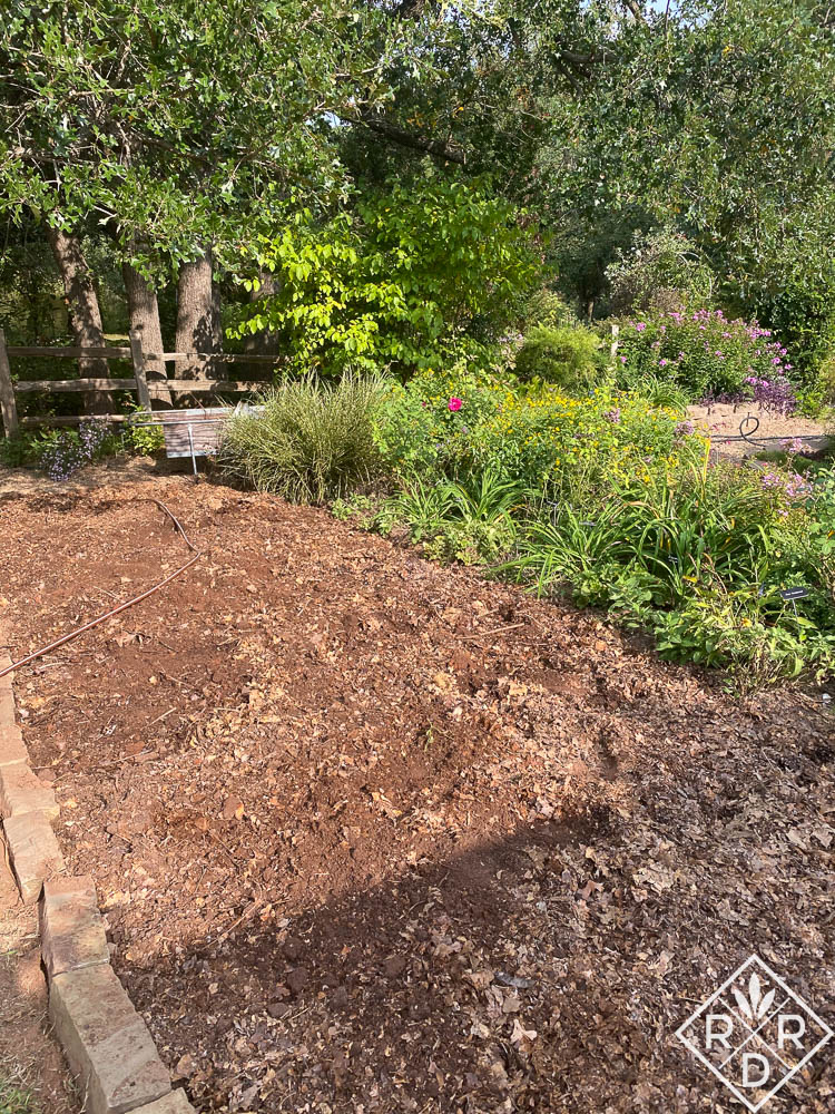 Expanded garden border with leaf mold on top