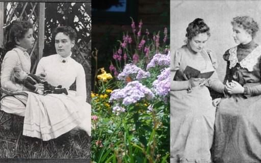 Helen Keller (8) and Anne Sullivan on vacation; my garden; Sullivan reading with Keller