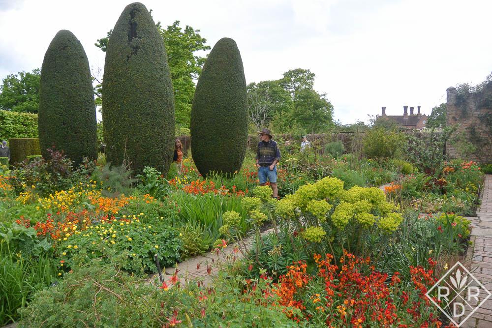 Some of the garden beds at Sissinghurst Castle.