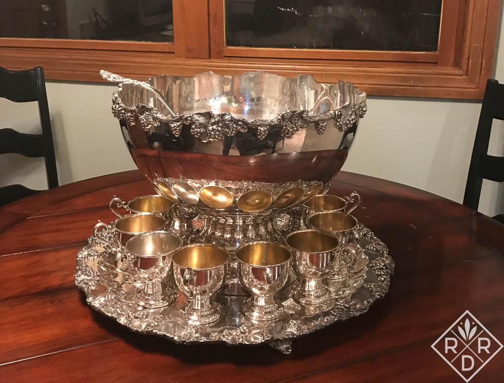 Shiny old International Silver punch bowl. Bill bought it for me at a local antique shop, and Claire and I polished it yesterday.