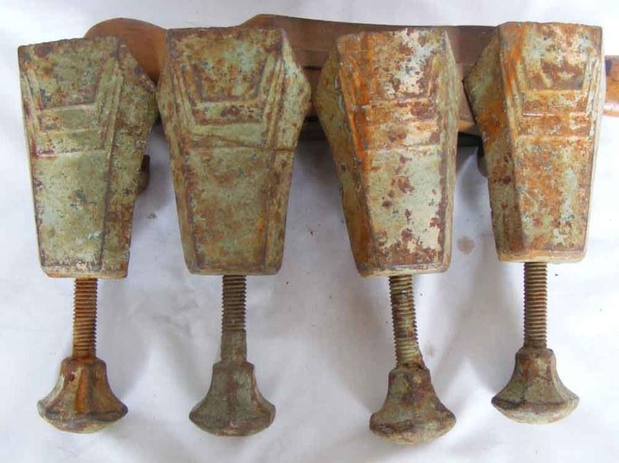 Art Deco Cast Iron Adjustable Bath Feet in original condition