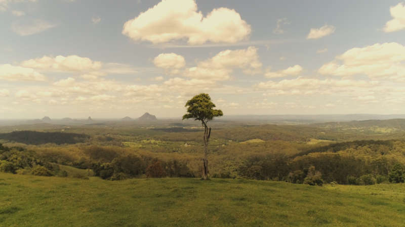 view to glasshouse mountains from Maleny
