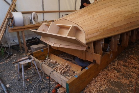 "I made a transom template of the inner and outter faces fo the transom to trim the aft ends of the planking so it fit well before bringing in the solid 3/4"" white oak transom planks."