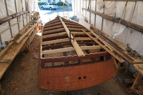 half the new frames dry fit before priming with the new keel in place to keep them centered.