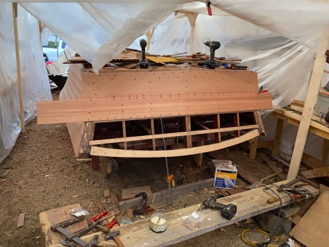 The transom planks were last as Century applied the transom to the cover the ends of the side planks. The upper transom frame was replace as we found that it had been previously replaced and didn't have the correct radius adn was starting to rot on the ends.