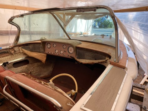 The original dash and cowl around the gauges are fiberglass molded peices that are later wraped in matting and vinyl.