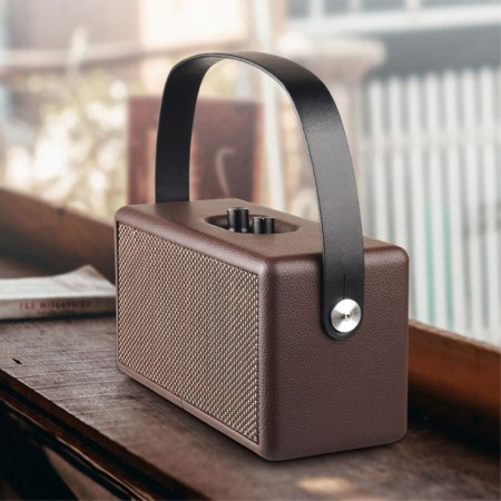 D30 Retro Wood Double Horns Bluetooth Højttaler - Brun