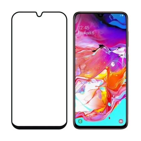 Samsung A70 Full Skærmbeskyttelse – Sort Ramme