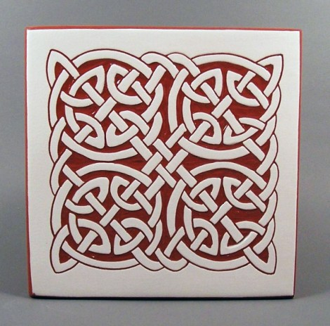 6 in. square Round Knot tile trivet - $20
