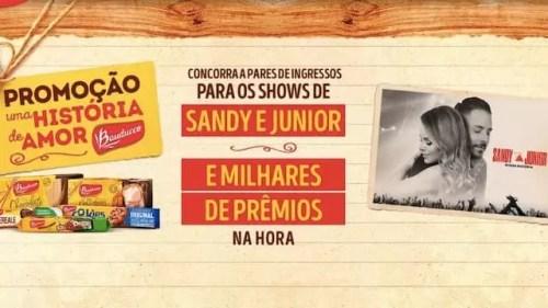 Promoção Bauducco Uma História de Amor promocao sandy e junior