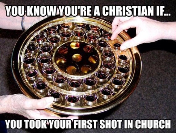 Christians drinking shots