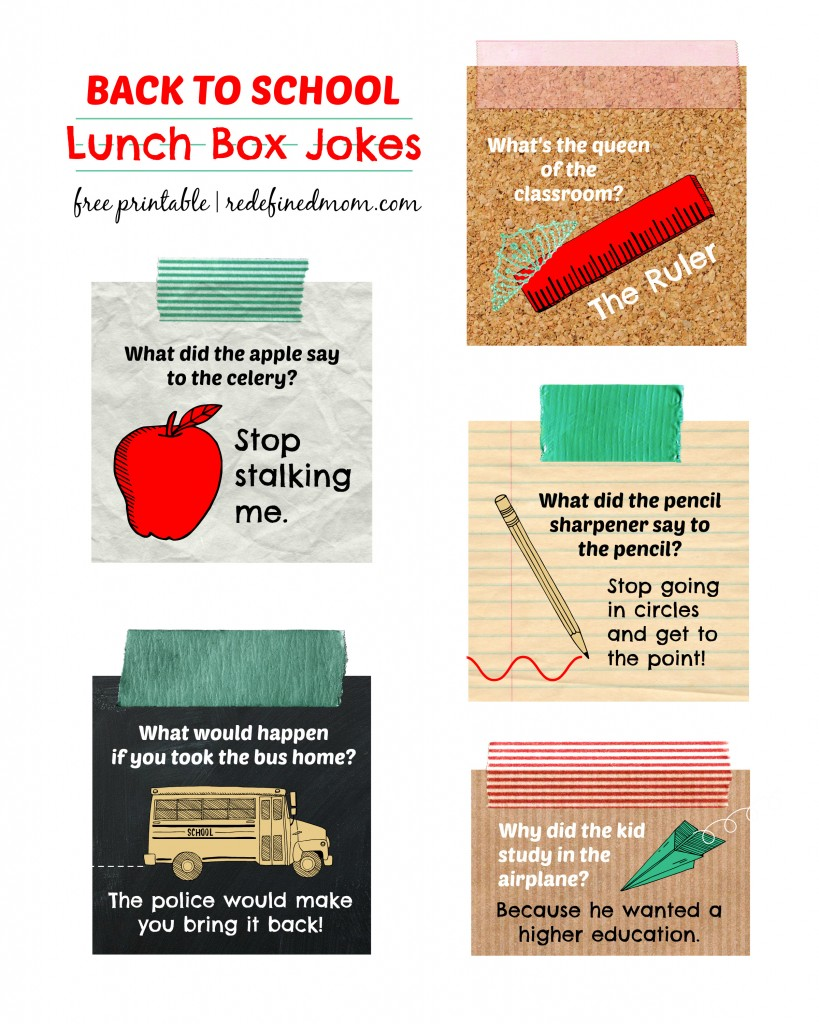 photo relating to Lunch Box Jokes Printable titled Back again towards Faculty Lunch Box Jokes Cost-free Printable